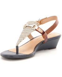 Antonio Melani - Blue Amirah Metallic Leather T-strap Slingback Wedge Sandals - Lyst