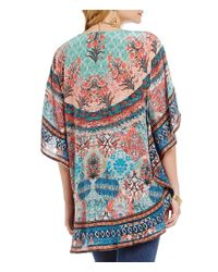 Tolani | Multicolor Narissa 3/4 Sleeve Printed Caftan Tunic | Lyst