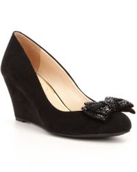 Jessica Simpson | Black Selonia Microsuede Hotfix Ornament Bow Slip On Wedges | Lyst