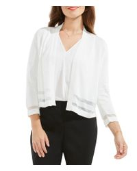 Vince Camuto | White Cropped V-neck Cardigan | Lyst