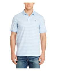 Polo Ralph Lauren | Blue Big & Tall Classic-fit Striped Stretch Mesh Short-sleeve Polo Shirt for Men | Lyst