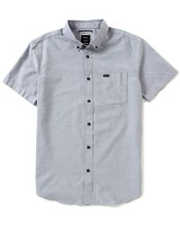 RVCA | Blue That ́ll Do Short-sleeve Solid Oxford Shirt for Men | Lyst