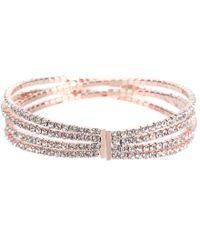 Cezanne - Pink Double Crisscross Rhinestone Cuff Bracelet - Lyst