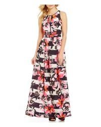 Vince Camuto | Pink Keyhole Sleeveless Floral Printed Maxi Dress | Lyst