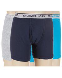 Michael Kors | Blue Cotton Modal Boxer Briefs 3-pack for Men | Lyst