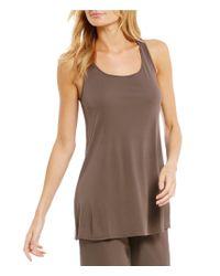 388b61eadda Lyst - Eileen Fisher Scoop Neck Tunic in Brown
