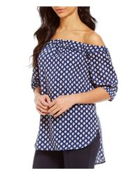 MICHAEL Michael Kors | Blue Ikat Printed Pebble Crepe Off-the-shoulder Top | Lyst