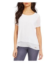 MICHAEL Michael Kors | White Georgette Split-back Layered Top | Lyst