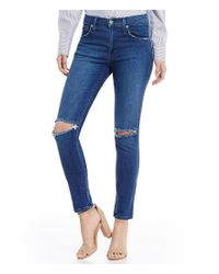 James Jeans | Blue High Class Destructed Hi-rise Skinny Jeans | Lyst