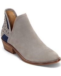 Lucky Brand | Multicolor Kambry2 Leather V-throat Studded Stacked Heel Booties | Lyst