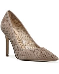 Sam Edelman Natural Hazel 2 Perforated Suede Pointed Toe Pumps