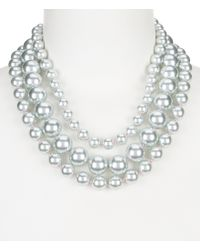 Carolee | Multicolor Gray Rose Faux-pearl Multi-strand Statement Necklace | Lyst