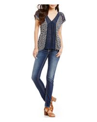 Miss Me | Blue Printed Mesh Inset High-low Blouse | Lyst