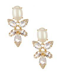 kate spade new york | Metallic Blushing Blooms Faux-pearl Drop Earrings | Lyst