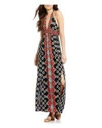Angie | Black Printed V-neck Side Slits Maxi Dress | Lyst