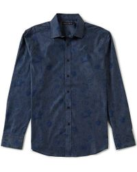 Vince Camuto | Blue Slim-fit Floral-print Long-sleeve Stretch Woven Shirt for Men | Lyst
