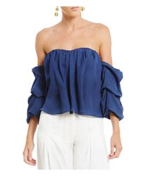 Gianni Bini | Blue Fan Fav Becca Off The Shoulder Gathered Sleeve Blouse | Lyst