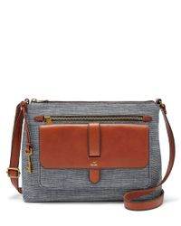 Fossil - Multicolor Kinley Chambray Large Cross-body Bag - Lyst