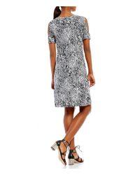 Calvin Klein - Black Snakeskin Collage Print Knit Jersey Cold Shoulder T-shirt Dress - Lyst