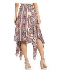 Angie - Multicolor Border Print Wrap Skirt - Lyst