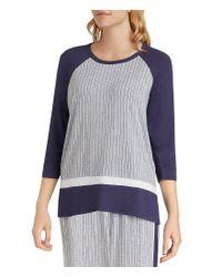 DKNY - Gray Plus Stripe-print Jersey Sleep Top - Lyst