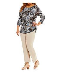 Ruby Rd - Multicolor Plus Embellished Boat-neck Fan Paisley Border Print Knit Top - Lyst