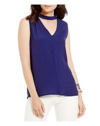 1.STATE - Blue Sleeveless Bar Neck Blouse - Lyst