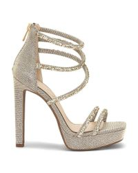 Jessica Simpson - Metallic Beyonah Rhinestone Hotfix Platform Dress Sandals - Lyst