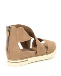 Eileen Fisher - Brown Tumbled Leather Criss Cross Banded Backstrap Sport Sandals - Lyst