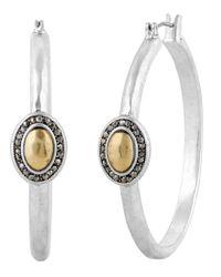Lucky Brand - Metallic Two Tone Pave Hoop Earrings - Lyst