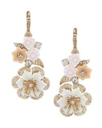 Marchesa - Metallic Floral Medium Double Drop Statement Earrings - Lyst