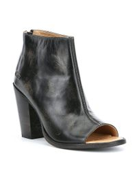 Bed Stu - Black Onset Distressed Leather Peep-toe Booties - Lyst