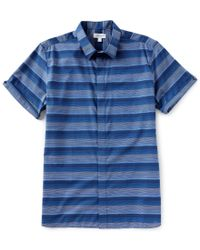 Calvin Klein - Blue French Placket Ombre Stripe Short-sleeve Woven Shirt for Men - Lyst