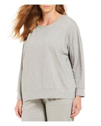Eileen Fisher - Gray Plus Size Crew Neck Top - Lyst