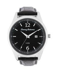 Tommy Bahama - Black Siesta Key Analog & Date Crocodile-embossed Leather-strap Watch for Men - Lyst