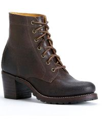 Frye - Brown Sabrina 6g Leather Lace Up Block Heel Short Boots - Lyst
