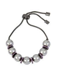 Kenneth Cole - Gray Pearl Adjustable Slider Friendship Bracelet - Lyst