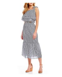 Gianni Bini - Blue Jenna Smocked Stripe Coordinating Midi Skirt - Lyst
