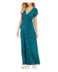 Billabong - Blue Wrap Me Up Printed Dress - Lyst