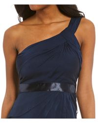 Adrianna Papell - Blue Draped One Shoulder Dress - Lyst