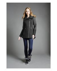 MICHAEL Michael Kors - Black Asymmetric Zip Soft Shell Jacket - Lyst