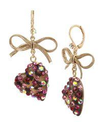 Betsey Johnson - Pink Bow & Leopard Heart Drop Earrings - Lyst