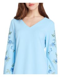Tahari - Blue Embroidery Long Sleeves Shift Dress - Lyst