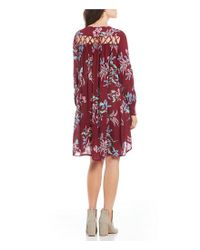 Patrons Of Peace Red Floral Printed Lattice Back Long Sleeve Shift Dress