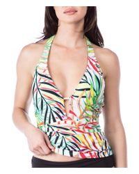 Kenneth Cole - Multicolor Exotic Palm Plunge Tummy Toner Tankini Swimsuit Top - Lyst