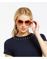 Michael Kors - Metallic Chelsea Metal Uva/uvb Protection Aviator Sunglasses - Lyst