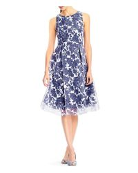 Adrianna Papell Blue Floral Burn Out Midi Dress