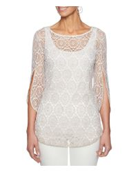 Ruby Rd - White 3/4 Tulip Sleeve Marled Geo Crochet Lace Top - Lyst