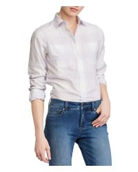 Lauren by Ralph Lauren - Multicolor Plaid Rolled-cuff Cotton Shirt - Lyst