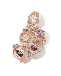 Betsey Johnson - Metallic Crystal Rose Gold Crystal Bezel Bracelet Watch - Lyst